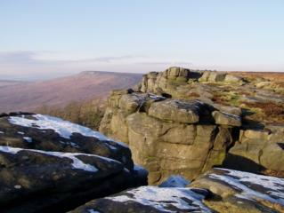 stanage edge with frost