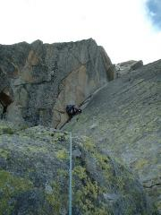 Me on the crux pitch of The North-North-East Ridge of The Aiguille de l'M