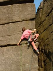 John Cox above the crux of Slap n Spittle (E4 6a) Marble Wall, Stanage