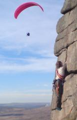 Danny leading Heather wall (Stanage Popular0