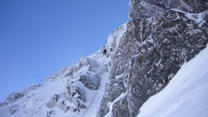 Initial groove pitch on NE Buttress