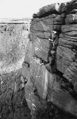 Ian Carr attempting the first ascent of Welcome to Greenfield gateway to the valley