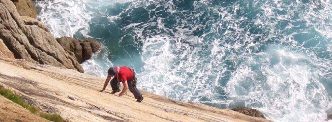 Climber leading the Devil's Slide