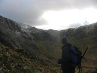 On the way up Tryfan, somewhat nippy.