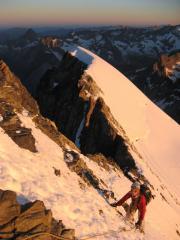 Caroline on the summit ridge of the Barre des Ecrins