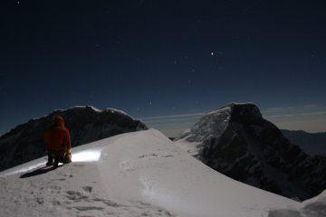 Solo on the summit of Chopicalqui (6354m), Peru