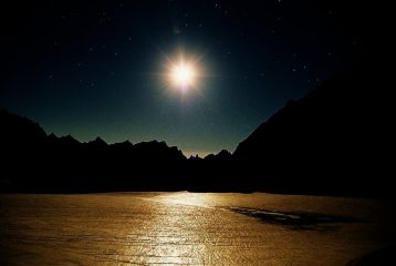A view from a bivvi:  moonrise over the Glacier Blanc