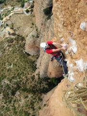 Jus finishing the second crux pitch way above Riglos